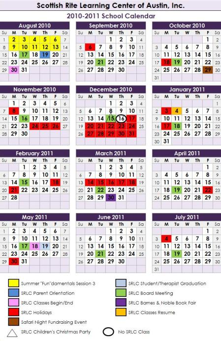 Scottish Rite Learning Center 2010-2011 Calendar