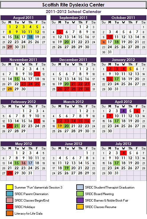 Scottish Rite Dyslexia Center 2011-2012 Calendar